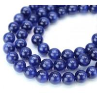 Cobalt Blue Cat Eye Glass Beads, 8mm Smooth Round