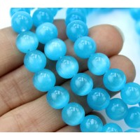 Sky Blue Cat Eye Glass Beads, 8mm Smooth Round