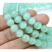 Sea Green Cat Eye Glass Beads, 8mm Smooth Round