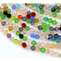 Color Mix Glass Beads, 4x4mm Faceted Bicone