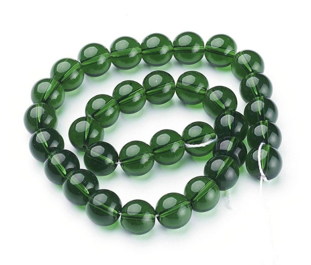 Green Glass Beads, 10mm Smooth Round
