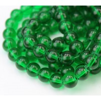 Glass Beads, Grass Green, 8mm Smooth Ro..