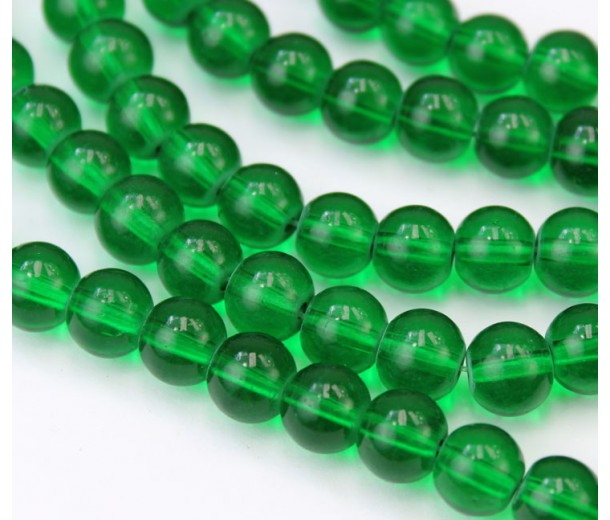 Glass Beads, Grass Green, 8mm Smooth Round