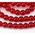 Red Glass Beads, 10mm Smooth Round