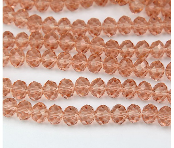 Beige Pink Transparent Glass Beads, 8x6mm Faceted Rondelle
