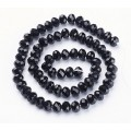 Black Glass Beads, 8x6mm Faceted Rondelle