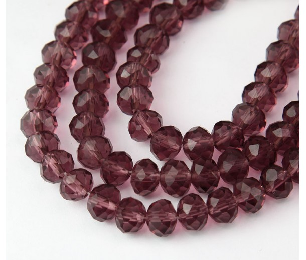 Light Amethyst Transparent Glass Beads, 8x6mm Faceted Rondelle