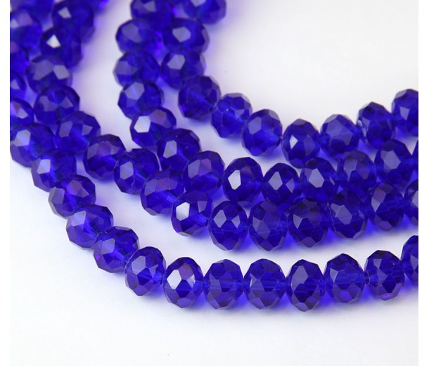 Cobalt Blue Glass Beads, 8x6mm Faceted Rondelle