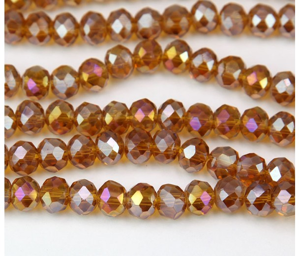 Topaz Brown AB Glass Beads, 8x6mm Faceted Rondelle