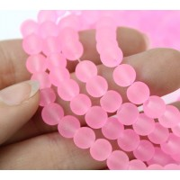 Neon Pink Frosted Glass Beads, 6mm Smooth Round