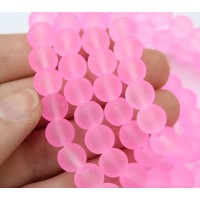 Neon Pink Frosted Glass Beads, 8mm Smooth Round