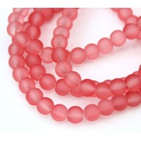 Watermelon Pink Frosted Glass Beads, 6mm Smooth Round