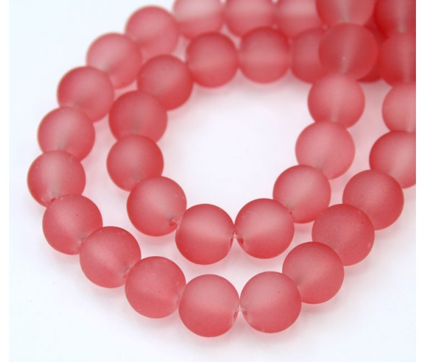 Watermelon Pink Frosted Glass Beads, 8mm Smooth Round