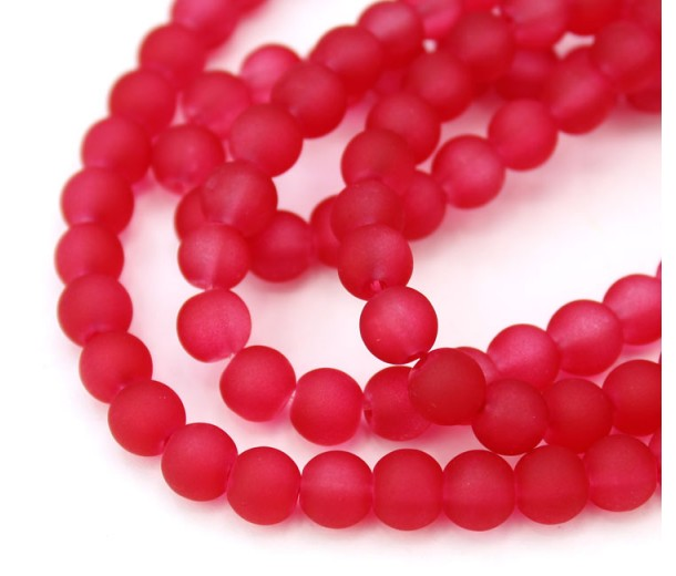 Strawberry Pink Frosted Glass Beads, 6mm Smooth Round