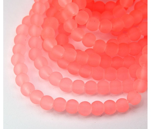 Neon Coral Pink Frosted Glass Beads, 8mm Smooth Round