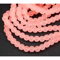 Neon Coral Frosted Glass Beads, 6mm Smooth Round