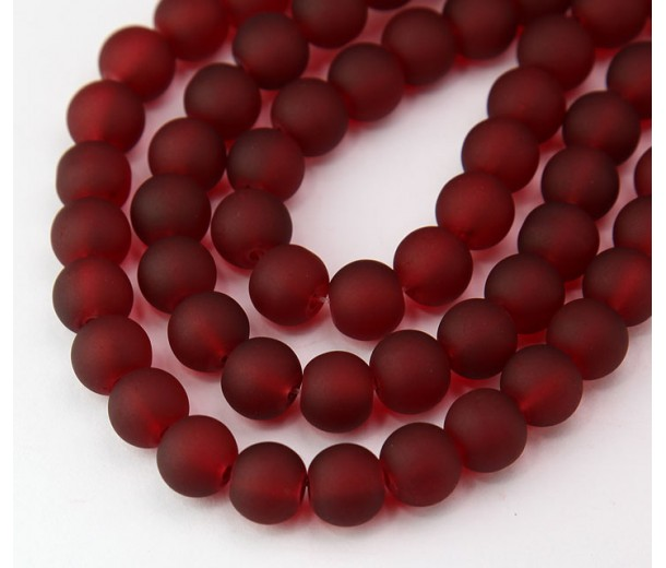 Dark Red Frosted Glass Beads, 8mm Smooth Round