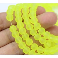 Neon Yellowgreen Frosted Glass Beads, 6mm Smooth Round