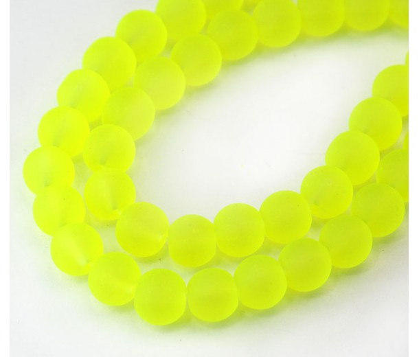 Neon Yellowgreen Frosted Glass Beads, 8mm Smooth Round
