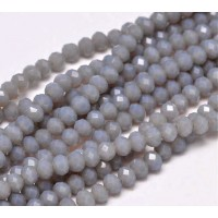 Milky Grey Glass Beads, 4x3mm Faceted Rondelle