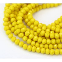 Yellow Opaque Glass Beads, 4x3mm Faceted Rondelle