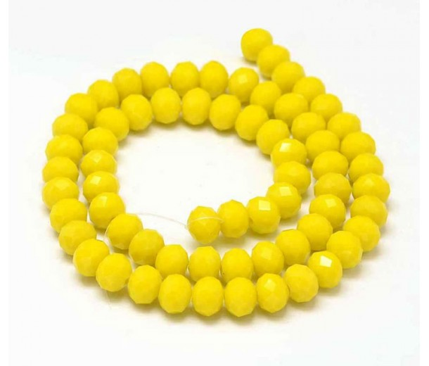 Opaque Yellow Glass Beads, 8x6mm Faceted Rondelle