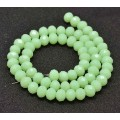 Milky Peridot Green Glass Beads, 8x6mm Faceted Rondelle