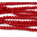 Dark Red Opaque Glass Beads, 4x3mm Faceted Rondelle