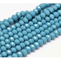 Denim Blue Glass Beads, 8x6mm Faceted Rondelle