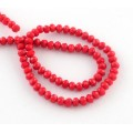 Bright Red Glass Beads, 6x4mm Faceted Rondelle