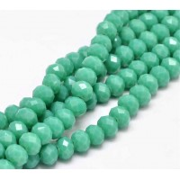 Opaque Medium Teal Glass Beads, 8x6mm Faceted Rondelle