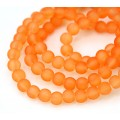 Orange Frosted Glass Beads, 6mm Smooth Round