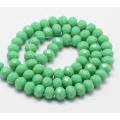 Opaque Green Glass Beads, 8x6mm Faceted Rondelle