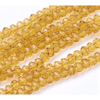 Honey Yellow Transparent Glass Beads, 4x3mm Faceted Rondelle