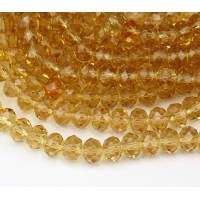 Honey Yellow Transparent Glass Beads, 8x6mm Faceted Rondelle
