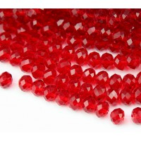 Red Transparent Glass Beads, 8x6mm Faceted Rondelle