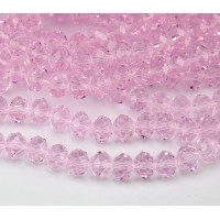 Misty Rose Pink Glass Beads, 8x6mm Faceted Rondelle