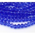 Sapphire Blue Transparent Glass Beads, 4x3mm Faceted Rondelle