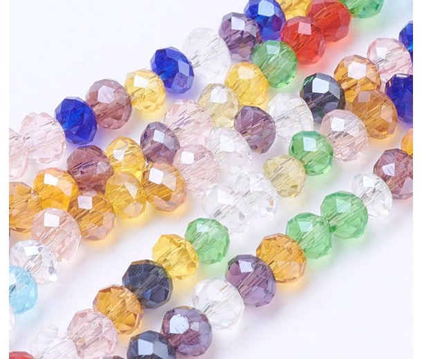 Multicolor Transparent Glass Beads, 4x3mm Faceted Rondelle