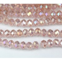 -Blush Pink AB Glass Beads, 8x6mm Faceted Rondelle