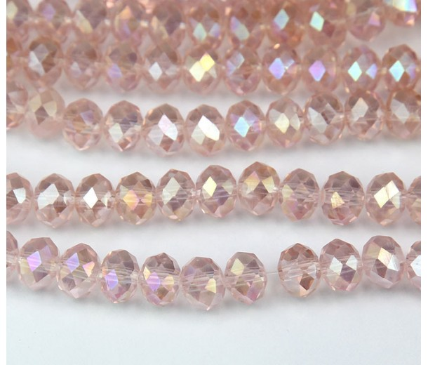 Blush Pink AB Glass Beads, 8x6mm Faceted Rondelle