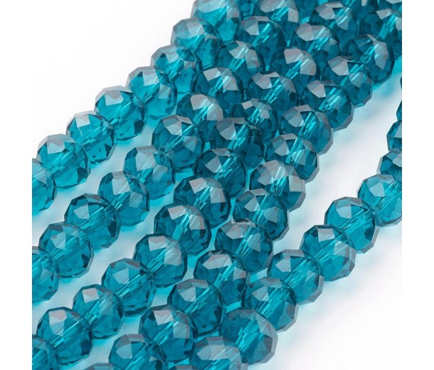 Prussian Blue Glass Beads, 8x6mm Faceted Rondelle