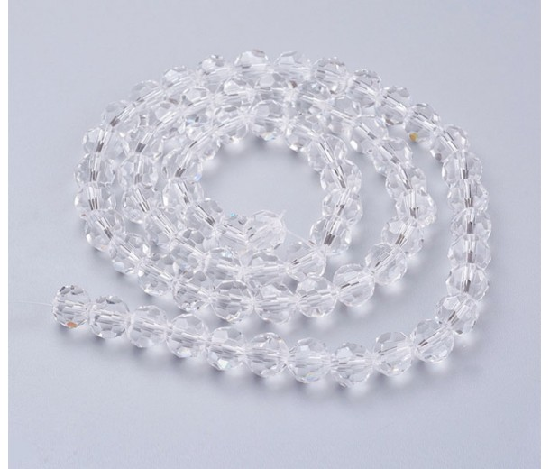 Clear Glass Beads, 8mm Faceted Round