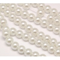 Snow White Glass Pearl Beads, 8mm Smooth Round