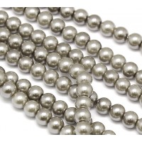 Silver Grey Glass Pearl Beads, 8mm Smooth Round