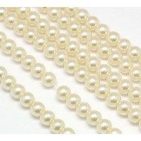 Ivory Glass Pearl Beads, 8mm Smooth Round