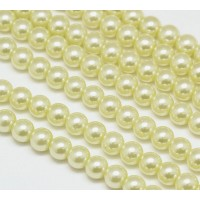 Lemon Sorbet Glass Pearl Beads, 8mm Smooth Round