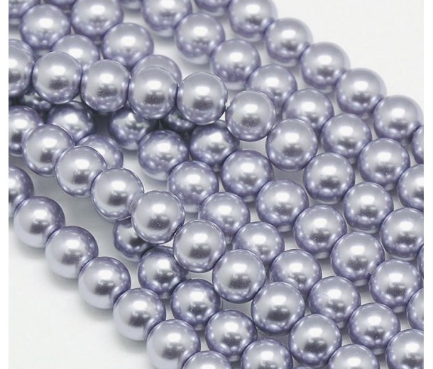 Purple Mist Glass Pearl Beads, 8mm Smooth Round