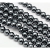 Hematite Grey Glass Pearl Beads, 8mm Smooth Round
