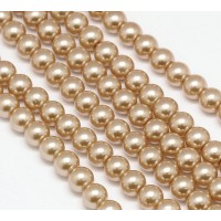 Light Brown Glass Pearl Beads, 8mm Smooth Round